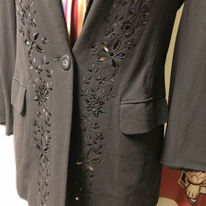 Escada Jackets & Coats - VINTAGE Escada Floral cutout black blazer jacket